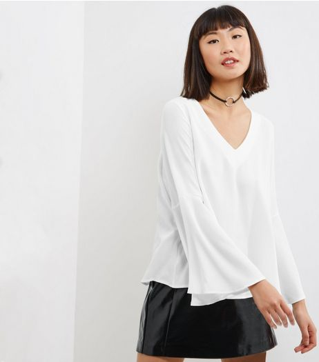 Innocence Cream V Neck Bell Sleeve Top  | New Look