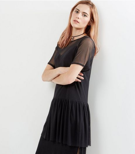 Innocence Black Mesh Gathered Drop Hem Dress | New Look