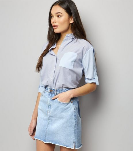 Pale Blue Patchwork Denim Mom Skirt  | New Look