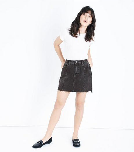 Black Seam Trim Mom Skirt  | New Look