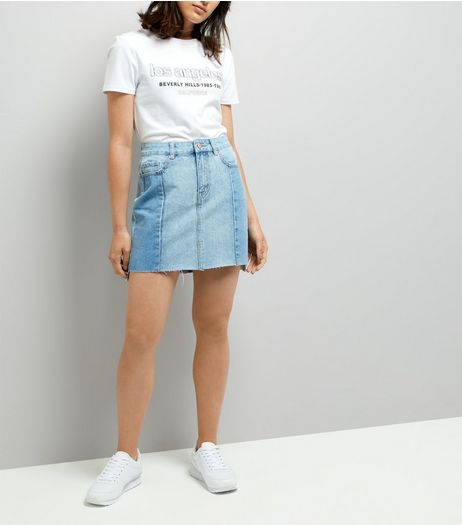 Pale Blue Seam Trim Denim Mom Skirt  | New Look