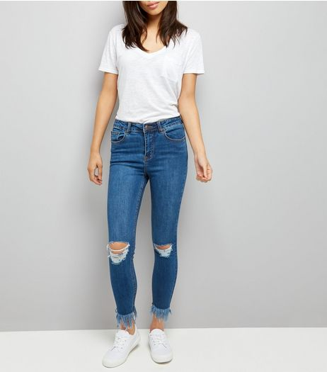 Pale Blue Ripped Knee Fray Hem Skinny Jeans  | New Look