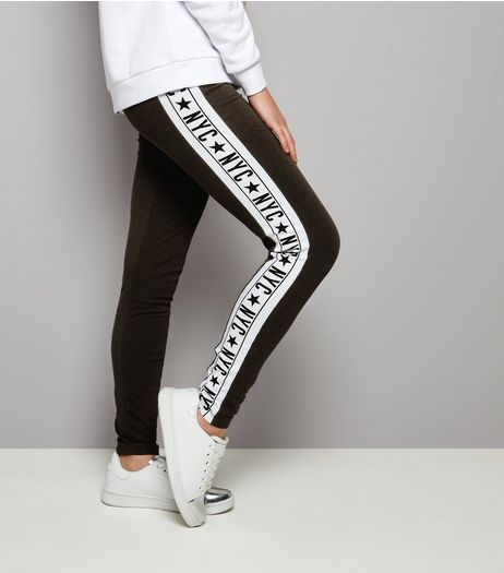 Teens Black Side Stripe NYC Print Leggings | New Look