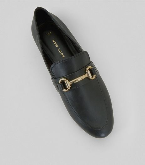 Black Snaffle Trim Loafers | New Look