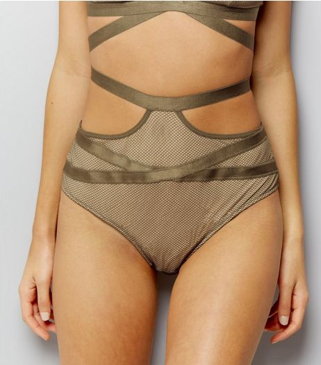 Olive Green Strappy Fishnet High Waist Briefs | New Look