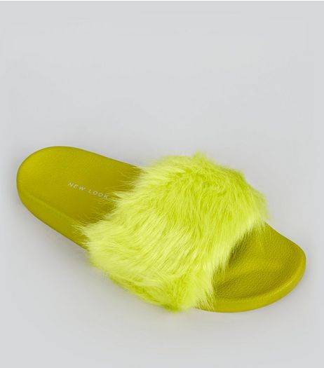 Lime Green Faux Fur Mules | New Look
