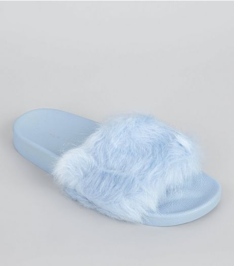 Pale Blue Faux Fur Mules | New Look