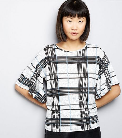 White Check Frill Trim Short Sleeve Top | New Look