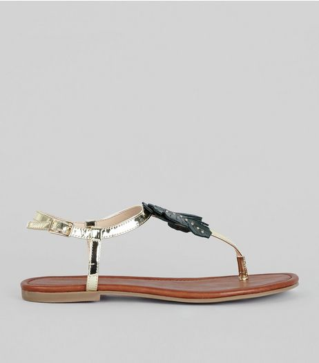 Gold Leaf Embellished Sandals  | New Look