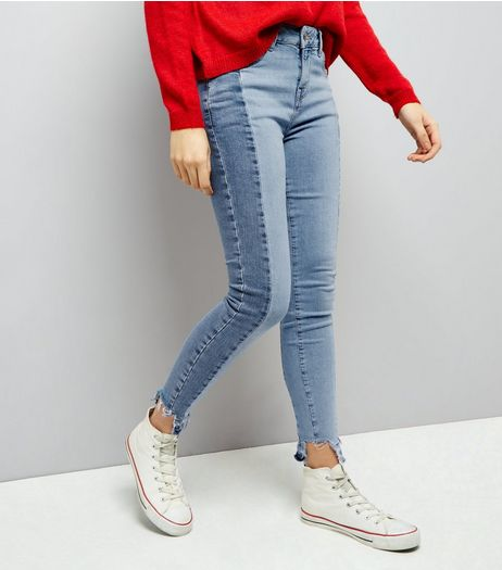 Blue Two Tone Fray Hem Skinny Jenna Jeans  | New Look