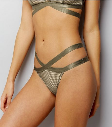 Olive Green Strappy Fishnet Thong | New Look