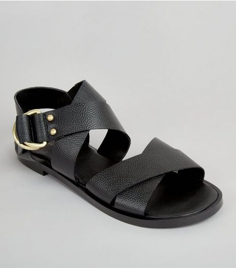 Black Leather Cross Strap D Ring Sandals | New Look