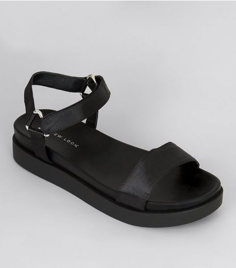 Black Sateen Velcro Strap Sandals | New Look