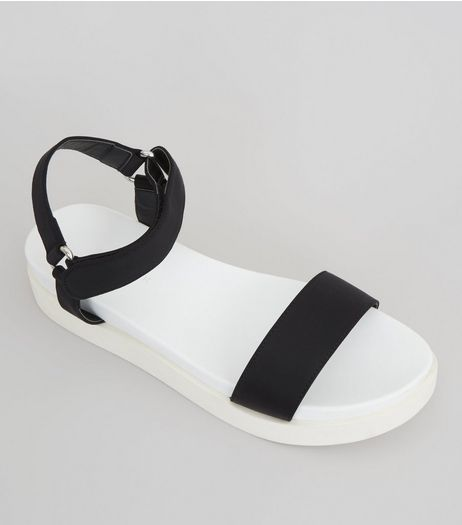 Black Velcro Strap  Sports Sandals | New Look
