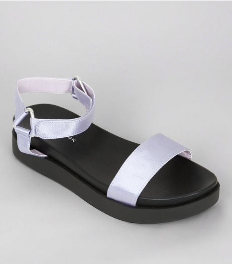 Purple Metallic Satin Velcro Strap Sandals | New Look