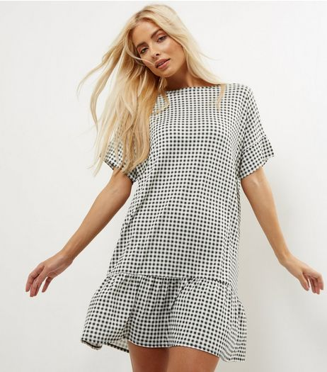 Basic Thinking Black Check Drop Waist Frill Hem Dress | New Look