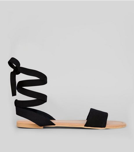 Wide Fit Black Leather Ankle Tie Sandals | New Look