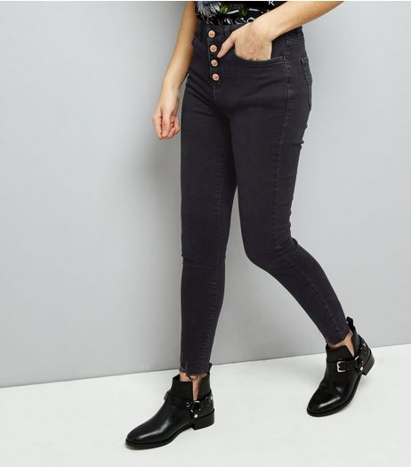 Navy Fray Hem High Waisted Yazmin Skinny Jeans  | New Look