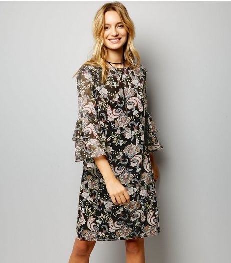 Black Paisley Print Flared Sleeve Tunic Dress | New Look