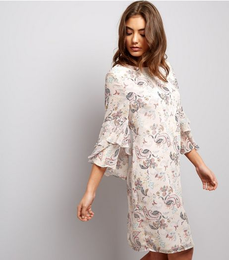 Pink Paisley Print Flared Sleeve Tunic Dress | New Look