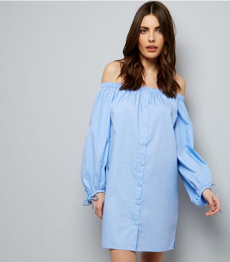 Pale Blue Button Front Bardot Neck Dress  | New Look