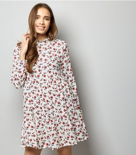 White Floral Long Sleeve Tiered Smock Dress | New Look