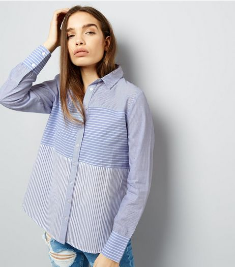 Blue Contrast Stripe Long Sleeve Shirt  | New Look