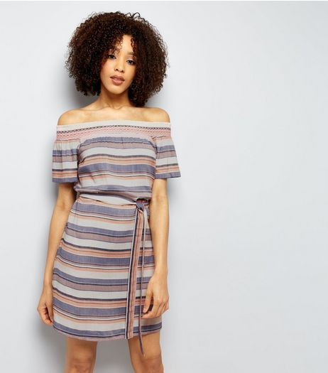 Blue Stripe Shirred Tie Waist Bardot Dress | New Look