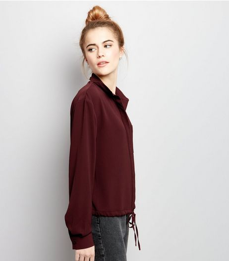 Burgundy Drawstring Hem Long Sleeve Shirt  | New Look