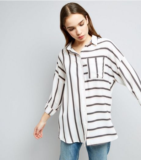 White Contrast Stripe Pocket Front Shirt | New Look