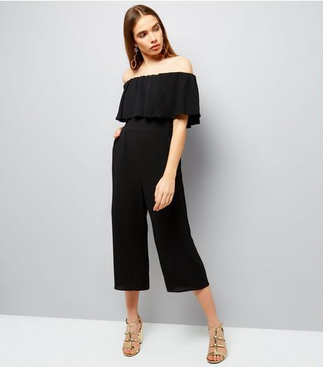 Black Frill Trim Bardot Neck Culotte Jumpsuit  | New Look