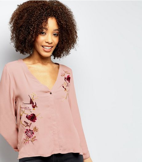 Pink Floral Embroidered V Neck Shirt | New Look