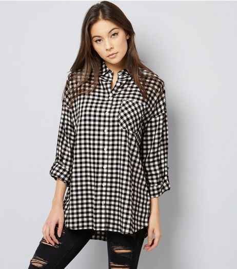 White Gingham Check Oversized Shirt  | New Look
