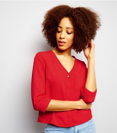 Dark Red V Neck 3/4 Sleeve Cropped Shirt  | New Look