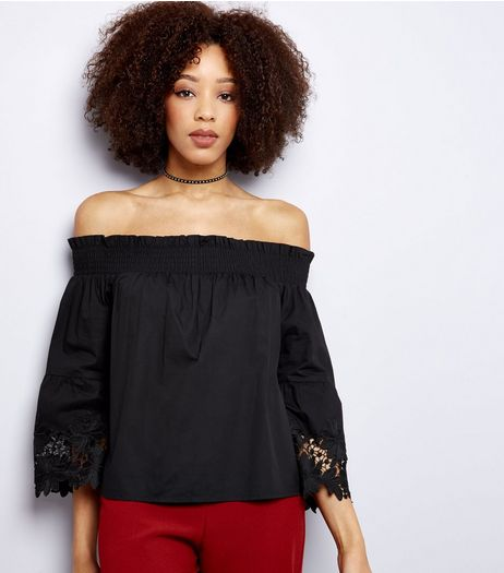 Black Cut Out Sleeve Bardot Neck Top  | New Look