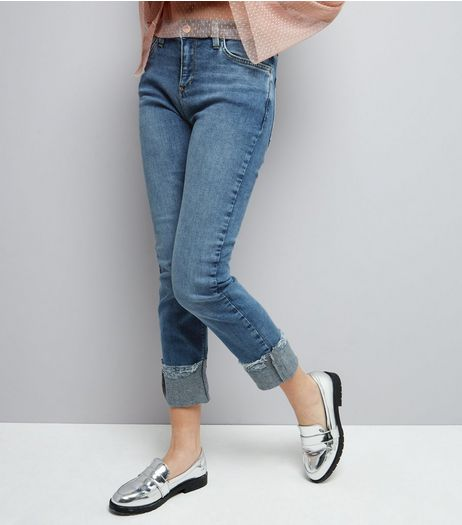 Blue Straight Leg Turn Up Jeans | New Look