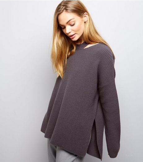 Dark Grey Cut Out Long Sleeve Jumper  | New Look