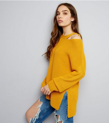 Yellow Ribbed Cut Out Neck Longline Jumper | New Look