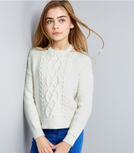 Teens Cream Cable Knit Cut Out Neck Jumper | New Look