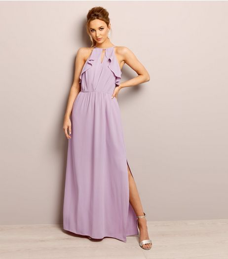 Lilac Keyhole Frill Trim Maxi Dress | New Look