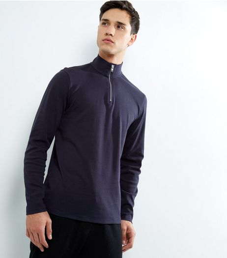 Navy Zip Front Long Sleeve Top | New Look