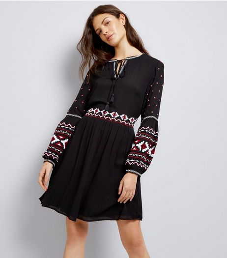 Black Embroidered Trim Smock Dress | New Look