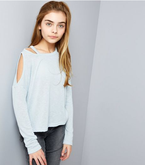 Teens Pale Blue Fine Knit Cut Out Cold Shoulder Top | New Look