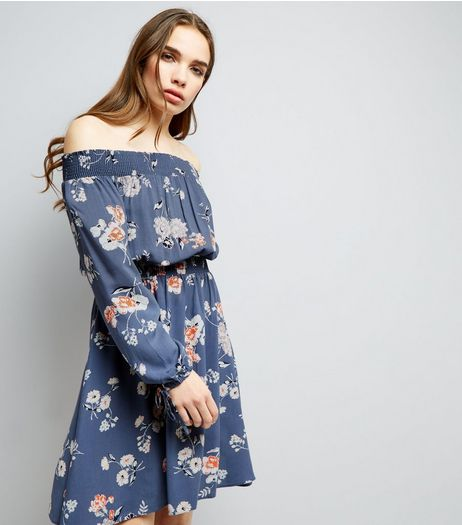 Blue Floral Print Long Sleeve Bardot Neck Dress | New Look