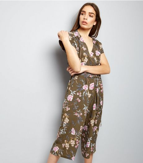 Green Floral Print Wrap Front Culotte Jumpsuit  | New Look