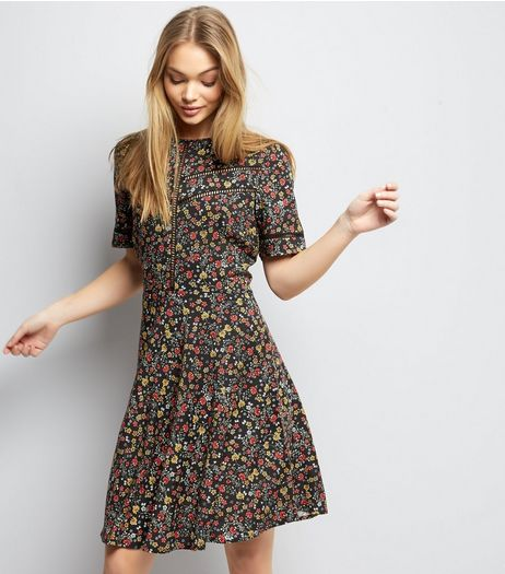 Black Ditsy Floral Print Ladder Trim Tea Dress | New Look