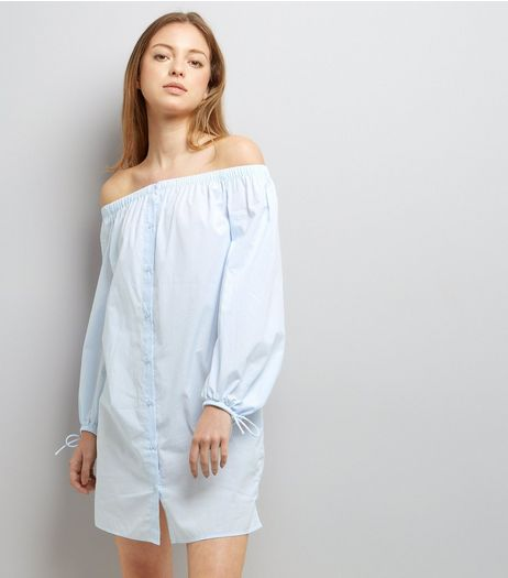 Blue Stripe Tie Sleeve Bardot Neck Shirt Dress  | New Look