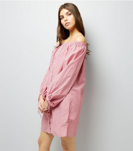 Red Stripe Tie Sleeve Bardot Neck Shirt Dress | New Look