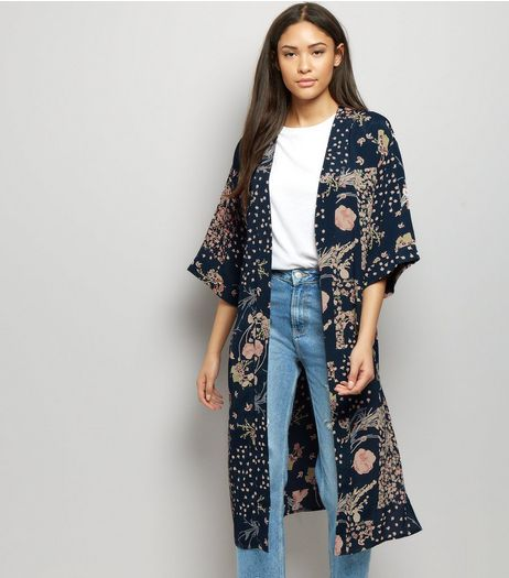 Blue Floral Print 3/4 Sleeve Kimono  | New Look