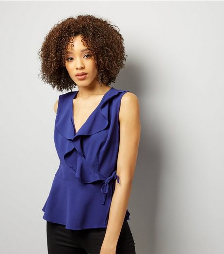 Blue Frill Trim Wrap Front Sleeveless Top | New Look